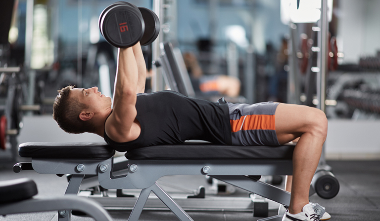 dumbbell bench press form: