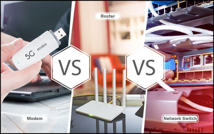 modem vs router vs switch:
