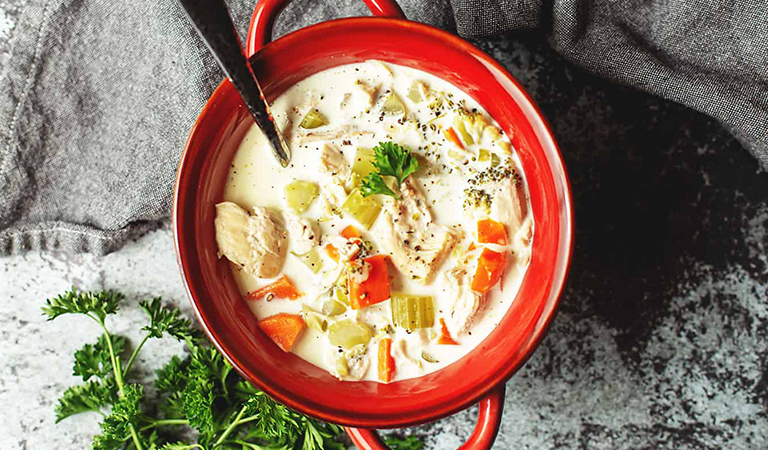Low carb cream of chicken soup: keto chicken soup